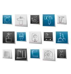 bathroom and toilet objects and icons vector image