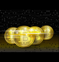 Bitcoin digital design on circuit board vector