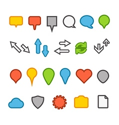 Different web color icons collection vector image vector image