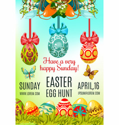 easter egg hunt and holy sunday poster template vector image