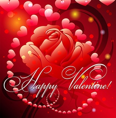 Greeting card with rose and hearts vector image vector image