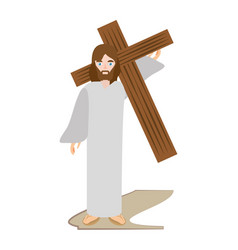 jesus christ carries cross via crucis vector image