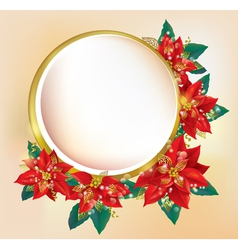 Round banner with Christmas poinsettia vector image