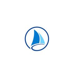 sail boat yacht logo vector image