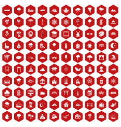 100 scenery icons hexagon red vector image vector image