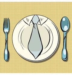 Business lunch dish fork and spoon vector image