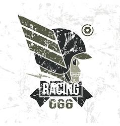 Car racing skull emblem vector image