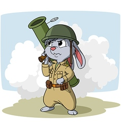 Cartoon bunny with bazooka vector image