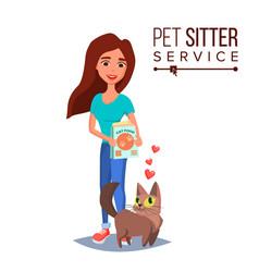 cat pet sitter cat sitter walking pet vector image vector image