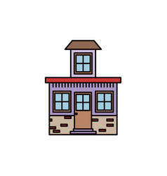 colorful silhouette of facade small house with vector image