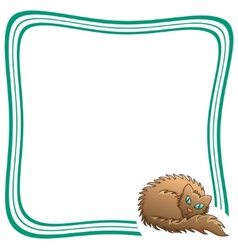 Frame With Brown Fluffy Cat vector image