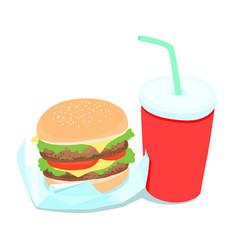 hamburger and soft drink vector image vector image