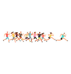 jogging people runners group in motion running vector image