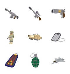 Military weapons icons set cartoon style vector image vector image