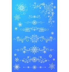 Snowflake page dividers and decorations vector image