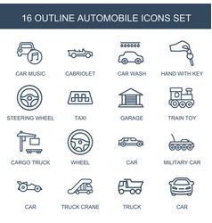 16 automobile icons vector image