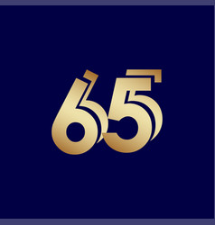 65 years anniversary celebration blue gold vector