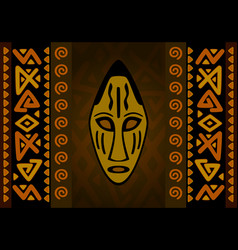 African mask with simple tribal pattern vector