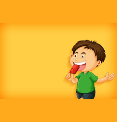 background template design with boy eating vector image
