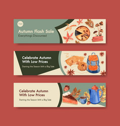 Banner template with autumn daily concept design vector