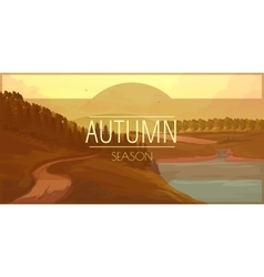 Banner with autumn landscape vector