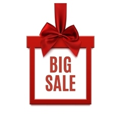 Big sale square banner in form of gift on white vector
