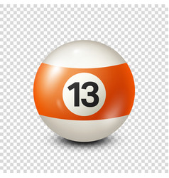 Billiardorange pool ball with number 13snooker vector