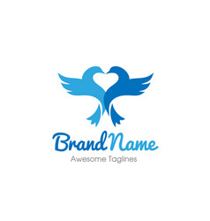bird with heart love logo concept vector image