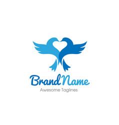 bird with heart love logo concept vector image