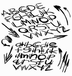 Black alphabet font in graffiti style vector