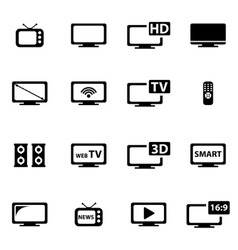 black tv icon set vector image