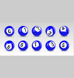 blue billiard balls with numbers from zero to nine vector image