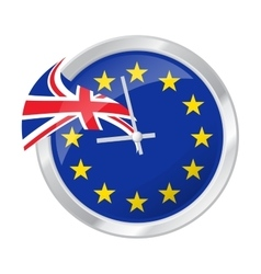 Brexit clock face with eu and uk vector