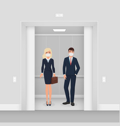 Business people in masks from covid 19 in elevator vector