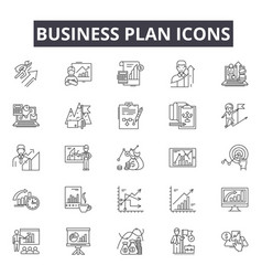 business plan line icons for web and mobile design vector image