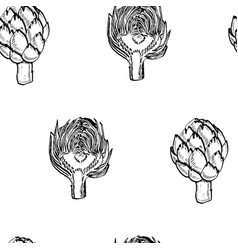 Calligraphy artichoke seamless pattern vector