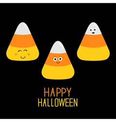 Candy corn set with funny faces happy halloween vector