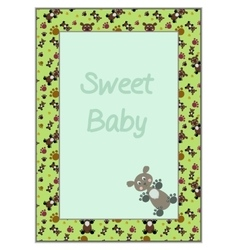 Card Frame with Green Background Teddy-bears vector image