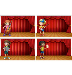 children playing different musical instrument vector image