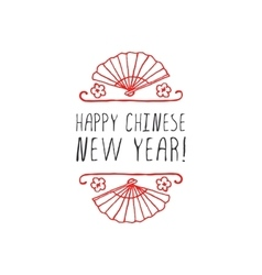 Chinese New Year hand drawn greeting card vector image
