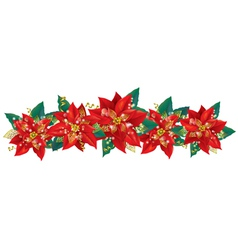 Christmas garland of poinsettia vector