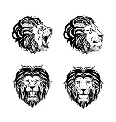 Collection four engravings with lion head vector