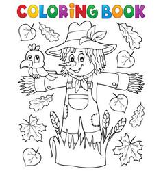 coloring book scarecrow theme 1 vector image
