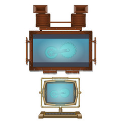 Computer and wall monitor in vintage style vector