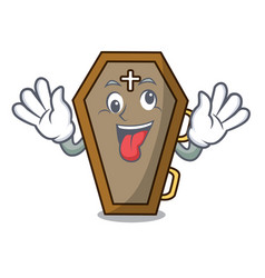 Crazy coffin mascot cartoon style vector