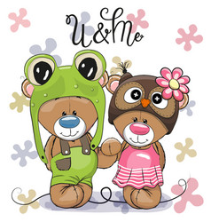 Cute cartoon bears in a frog hat and owl hat vector