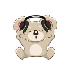 Cute lovely koala with headphones and v sign vector