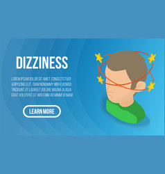 Dizziness concept banner isometric style vector