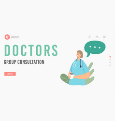 doctors group consultation landing page template vector image