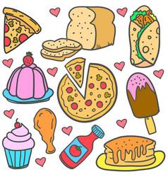 Doodle of food cake various set vector